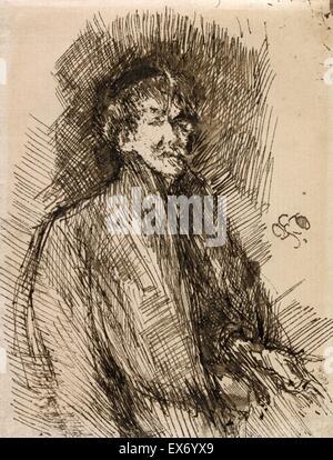 Self-portrait of Whistler 1900. James Abbott McNeill Whistler (1834–1903). American-born, British-based artist 1878 - Stock Photo