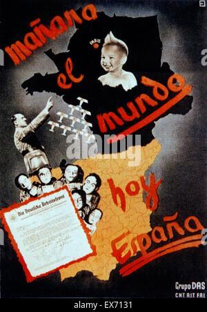 mañana el mundo - hoy Espana (tomorrow the world - today Spain) CNT Propaganda poster, 1936 Issued by Gruppo DAS, - Stock Photo