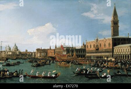 Antonio Canaletto (1697–1768) Return of ' The Bucintoro ' the Ascension Day. dated between 1745 and 1750. oil on - Stock Photo