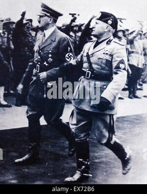 Adolf Hitler and Benito Mussolini in Rome, Italy 1938 - Stock Photo