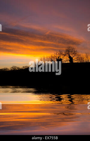 Sunset over the Grand Union Canal in South Leicestershire - Stock Photo