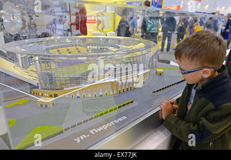 Yekaterinburg, Russia. 8th July, 2015. A reconstruction scale model of the Yekaterinburg Central Stadium for the - Stock Photo