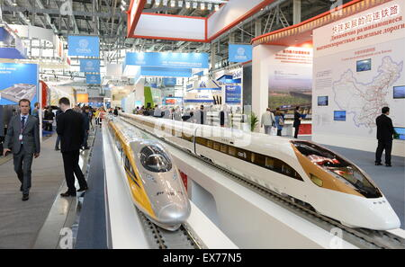 Yekaterinburg, Russia. 8th July, 2015. The stand of China Railway Corporation at the Innoprom 2015 International - Stock Photo