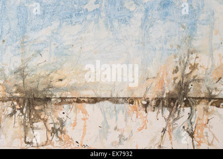 Original watercolour, abstract landscape background - Stock Photo