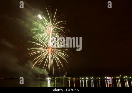 Liberty State Park Fourth of July Fireworks - Stock Photo