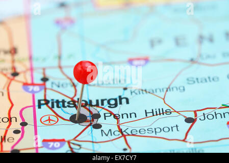 Pittsburgh pinned on a map of USA Stock Photo Royalty Free Image