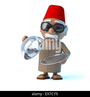 3d render of a Moroccan holding a silver tray - Stock Photo