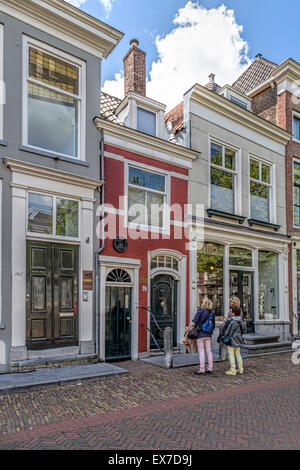 Smallest house in Delft of Pieter van Foreest, personal physician of prince William the Silent, South Holland, The - Stock Photo