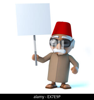 3d render of a Moroccan holding a blank placard - Stock Photo
