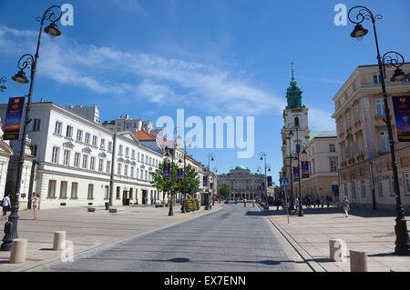 Poland, Warsaw, Old Town, Krakowskie Przedmiescie, View along street toward the Academy of Sciences. - Stock Photo