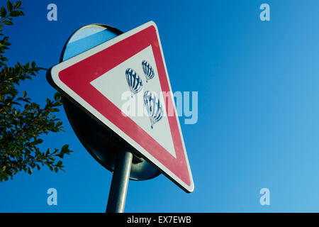 Beware of hot air balloons, road - traffic sign - Stock Photo