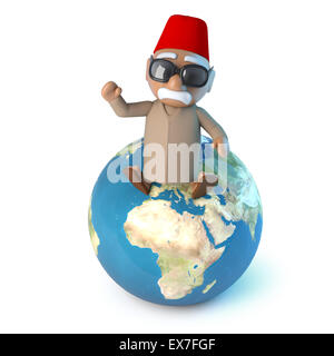 3d render of a Moroccan sitting on a globe of the Earth. - Stock Photo