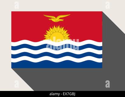 Kiribati flag in flat web design style. - Stock Photo