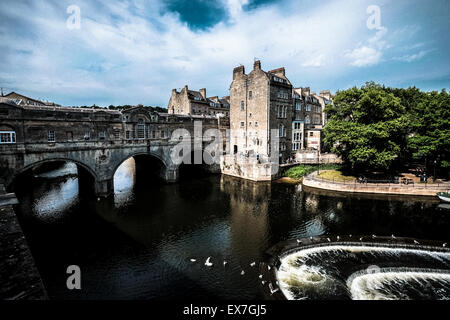 Pulteney Bridge Bath Somerset England UK. River Avon - Stock Photo