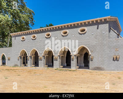The exterior of the chapter house of the Abbey of New Clairvaux. The property includes a vineyard and winery tasting - Stock Photo