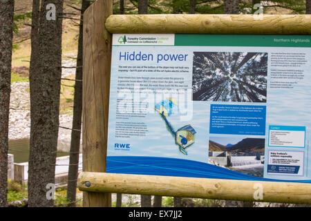 A Hydro plant on the River Lael, below Beinn Dearg near Ullapool, Scotland, UK. - Stock Photo