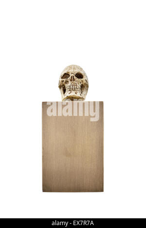 Small skull on bronze stand - Stock Photo