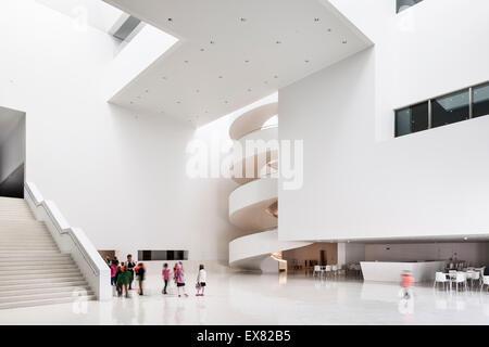 Overall view of grand foyer. Szczecin Philharmonic Hall, Szczecin, Poland. Architect: Estudio Barozzi Veiga, 2014. - Stock Photo