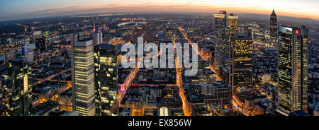 View of the city from the Main Tower at dusk, Frankfurt am Main, Hesse, Germany - Stock Photo