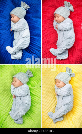 Multiple picture of a sleeping newborn child - Stock Photo