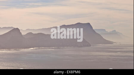 View from Cape Point across False Bay Cape Town South Africa - Stock Photo