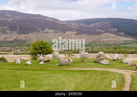 Fingal's Cauldron Seat double stone circle of granite boulders at Machrie Moor standing stones Machrie Isle of Arran - Stock Photo