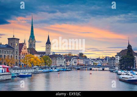 Zurich. Image of Zurich, Switzerland during autumn sunset. - Stock Photo
