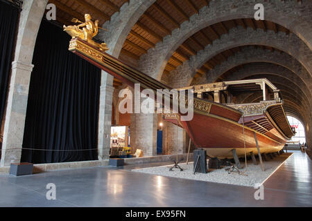 Barcelona Maritime Museum (Museu Maritim), Reproduction of the royal galley of John of Austria, Catalonia, Spain - Stock Photo
