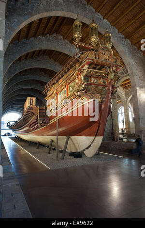 Barcelona Maritime Museum (Museu Maritim), stern of royal galley of John of Austria, Catalonia, Spain - Stock Photo