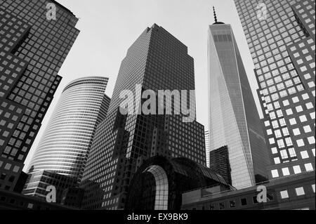NEW YORK CITY, USA - JULY 05, 2015: Downtown Manhattan skyline featuring the World Financial Center and One World - Stock Photo