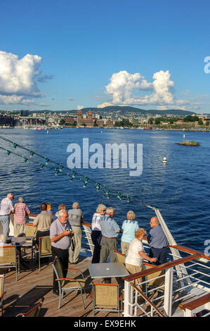 Cruise ship leaving Oslo harbour. Norway - Stock Photo