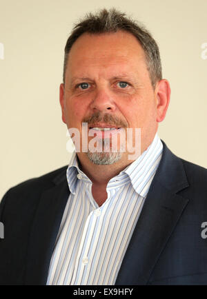 Berlin, Germany. 09th July, 2015. The new CEO of the Vattenfall subsidiary Stromnetz Berlin, Thomas Schaefer, poses - Stock Photo