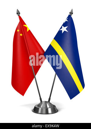 China and Curacao - Miniature Flags. - Stock Photo