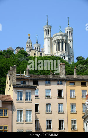 Cathedral Basilica of Notre-Dame de Fourvire in Lyon France - Stock Photo