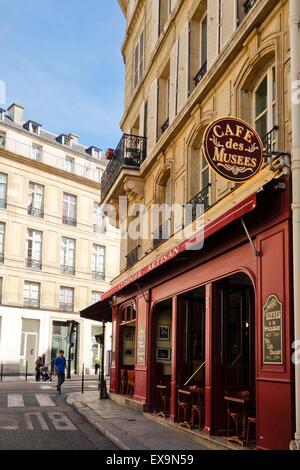 Typical French corner cafe, Cafe des musees, brasserie, restaurant, bar, Le Marais, Paris, France. - Stock Photo