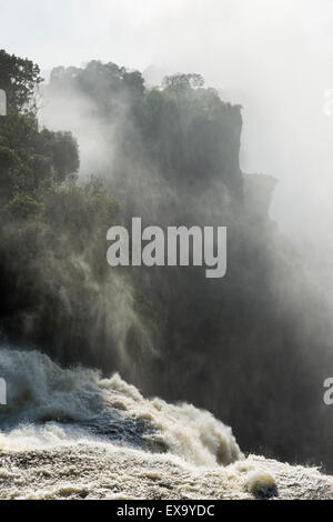 Africa, Zimbabwe, Victoria Falls National Park,  Zambezi River pours over Victoria Falls on summer morning - Stock Photo