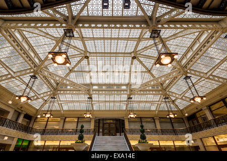 interior of the Rookery, 209 South LaSalle Street, Chicago, Illinois, USA - Stock Photo