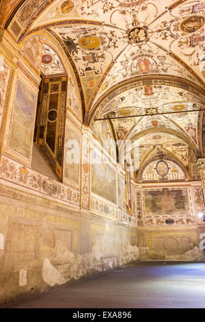 Beautiful frescoed walls and ceiling inside the courtyard in Palazzo Vecchio in Florence in Italy - Stock Photo