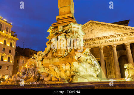 Fountain of the Pantheon near the Pantheon in Rome in Italy - Stock Photo