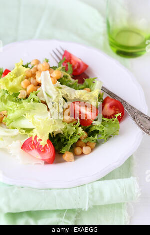 salad with chick-pea on plate - Stock Photo