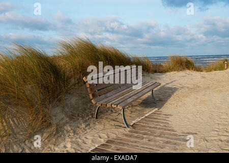 Bench in the dunes of the North Sea island Langeoog, East Frisia, Lower Saxony, Germany - Stock Photo