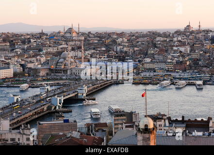 View over Istanbul skyline from The Galata Tower at sunset, Beyoglu, Istanbul, Turkey, Europe - Stock Photo