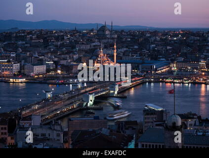 View over Istanbul skyline from The Galata Tower at night, Beyoglu, Istanbul, Turkey, Europe - Stock Photo