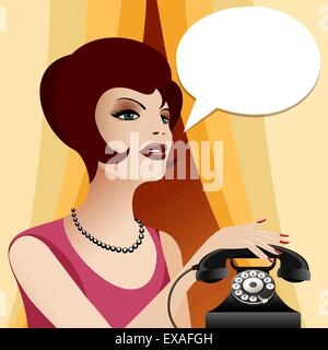 Woman in vintage clothes and pearl necklace with retro phone. Empty think bubble for your text. - Stock Photo
