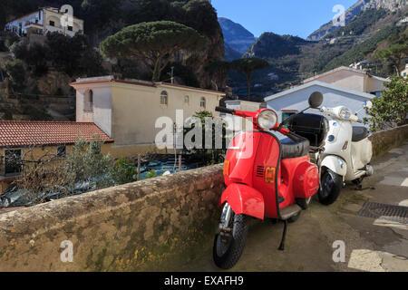 Mopeds parked on a narrow street, Amalfi, Costiera Amalfitana (Amalfi Coast), UNESCO World Heritage Site, Campania, - Stock Photo