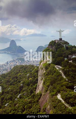 Rio de Janeiro landscape showing Corcovado, the Christ and the Sugar Loaf, UNESCO Site, Rio de Janeiro, Brazil, South America