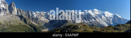Panorama of the mountain range of Mont Blanc, Haute Savoie, French Alps, France, Europe - Stock Photo