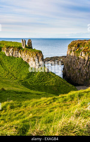 Dunseverick Castle near the Giants Causeway, County Antrim, Ulster, Northern Ireland, United Kingdom, Europe - Stock Photo