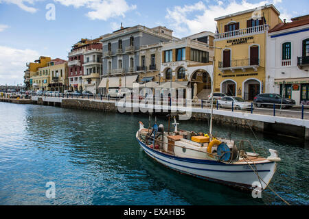 Lake Voulismeni, Agios Nikolaos, Crete, Greek Islands, Greece, Europe - Stock Photo