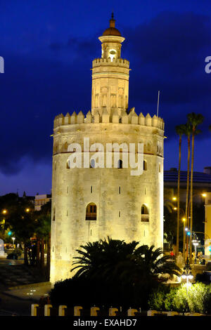 Torre del Oro (Gold Tower), Museo Naval, Seville, Andalucia, Spain, Europe - Stock Photo